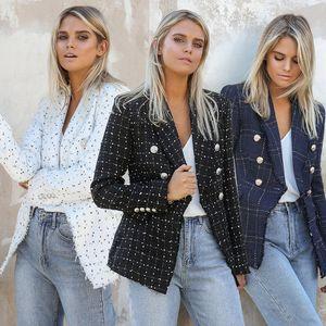 Куртка Outwear Blazer С шеей Роскошных пальто женщин отворот дамой Тонких женщин способом Printed Plaid Одежда Дизайнер Двойной Брестед Hehvf
