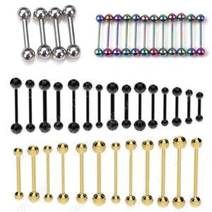 14g 16g 18 Gauge Steel Black Gold 3-6mm Ball Tongue Bar Straight Barbell Piercing Eyebrow Tragus Stud Nipple Ring Body Jewelry