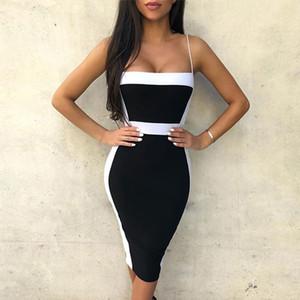 Seamyla atractivas de los vestidos del vendaje de las mujeres 2019 Nueva vestido sin mangas de la celebridad elegante del partido de Bodycon del desgaste del club del vestido del verano Vestidos