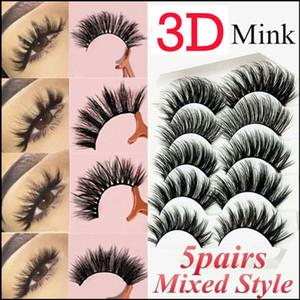 5pairs 3D naturel faux cils épais Faux long mixte Cils Maquillage épaississement Mink volumisant bouclés Faux eyelashe