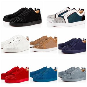Cheap Classic Top Quality Design Red Bottom Women and Men Flat Suede Green Mesh Leather Low Cut Sneakers Rivets Junior Spikes sizes 35-47