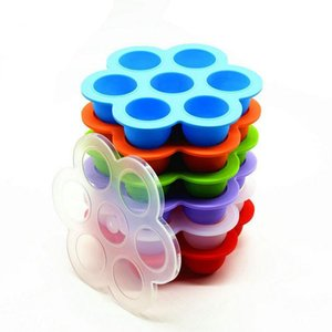 140g 7 Agujeros de silicona Egg Bites Moldes Moldes alimentos para niños contenedor de almacenamiento de frutas hielo DIY niños Rectángulos de almacenaje del envase reutilizable con tapa BWC852