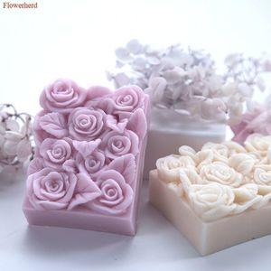 Wedding Birthday Cake Decors Rectangular Rose Handmade Soap Silicone Mold Fondant Cake Silicone Mold Chocolate Mold Party Decors T200703