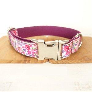 GLORIOSO Collar KEK Flores personalizado NameTel floral roxa do animal de estimação com uma curta chumbo bonito Female Dog coleiras para cães grandes Y200515