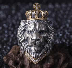 Punk Uomo Retro Vintage Tiara Lion King Anello Uomini Cross Punk Hip Hop Lion Anello in cristallo in acciaio inox in acciaio inox