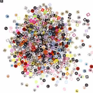 1650 قطعة / مجموعة متعدد الألوان والشكل أكريليك الأبجدية رسالة A-Z 6x6 ملليمتر مكعب الأبجدية إلكتروني الخرز # 279846