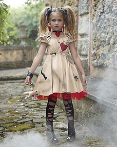 Costumes vampiro meninas Halloween Costume for Kids casamento Ghost Bride Flower Girl Witch Costume Voodoo Disfraz