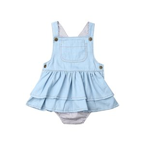 1-4Years New Kids Baby Girls Denim Jumpsuit Jarretière Bodysuit Tenues d'été