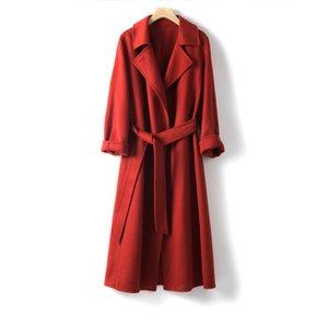 Shuchan 100% Lana regulables cintura Las mujeres de la capa larga delgada da vuelta-abajo la oficina de señora de alta calidad sólido Abrigos Mujer Elegante