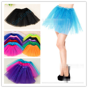 INS Filles Tutu Dress bonbons arc-en-couleur Jupes Mesh Party robes de danse Tutus Adulte d'été Bulle Gaze Ballet Mini 2020 Jupe courte e3610