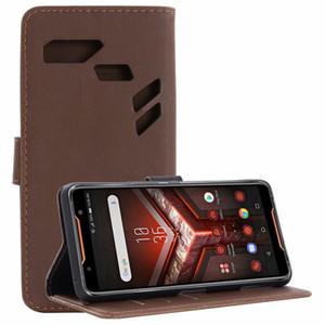 1pcs / lot pour ASUS ROG téléphone étui en cuir rétro Crazy Horse portefeuille étui en cuir avec support pour ASUS ROG téléphone