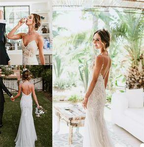 Sexy Backless Spaghetti Strap Bohemian Wedding Dresses Appliqued Lace Cheap Bridal Gown Beach Custom Made Sweep Train Bridal Dress