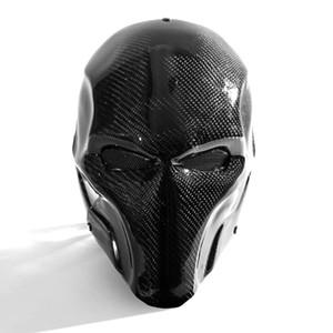 Großhandels-reale Hochintensitätskohlenstoff-Faser-taktische Vollgesichtsmasken Prom High-End Bösewicht Knell Halloween-Helm-Masken-Visier
