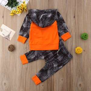 Halloween 2Pcs Newborn Kids Baby Boy Spider Cotton Hoodies Tops Long Pants Outfits Clothes Size 0-3T