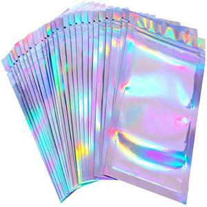 홀로그램 색상 여러 크기의 냄새 증명 가방 100 개 재 밀봉 마일 라 가방 지우기 잠금 식품 캔디 스토리지 가방 D0501 포장 우편 번호