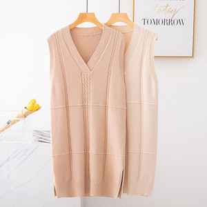 2020 Casual Winter Oversize Straight Sleeveless Sweater Dress Women Knit Midi Dress Female Split Side Loose Sweater Dresses A63