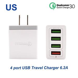 Carregador rápido3.0 carregador rápido 4 portas carregador de viagem 6.2a carregador USB para Samsung Galaxy S8 Xiaomi 5 para iPhone Adaptador EU / EUA Plug