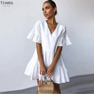 Robe Femmes Mode Été Casual solide encolure en V sexy court Mini robe sans manches Ladeis Robe courte plissée solide 507