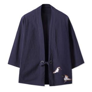 Robe de style chinois Casual hommes couleur unie lâche Cardigan mens CottonLinen mince rétro Kimono veste coupe-vent plus la taille 5XL