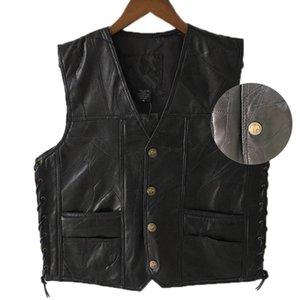 Black Leather Motorcycle Vest For Men couro genuíno Botão Punk Biker Vest Lace Outono mangas Jacket For Men