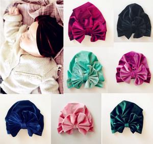Avrupa Bebek Kız bebekler Şapka ilmek Pleuche Şapkalar Çocuk Bebek Çocuk kasketleri Turban Şapkalar Çocuk Düğüm Hat 10 Renkler A526