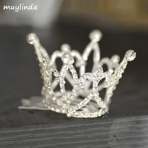 Meninas Mini Crown Limpar Pedra Tiara Cabelo Combs Rhinestone pequeno Tiara Acessórios de cabelo Jóias