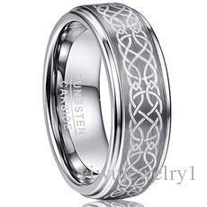 8 millimetri uomo laser Celtic Knot spazzolato del carburo di tungsteno Wedding Band anelli lucido Passo bordo Dimensione 6-13