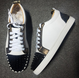 2020 Brand Designer Luxury Mens Red Bottoms Shoes Studded Spikes Low Flats Casual Sneakers For Men Wedding Party Dress Leather