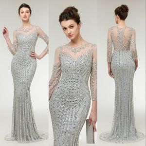 Echt Bild Abendkleider Tragen Neue Bling Long Sleeves Illusion Kristall Perlen Meerjungfrau Grau Silber Plus Size Formale Party Kleid Abendkleider