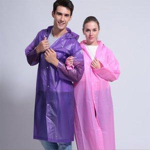 Espesar con capucha del poncho impermeable capa de las mujeres para hombre de la capa de lluvia al aire libre impermeable portable de la manera transparente ropa impermeable AN3073 largo del viento