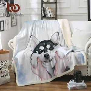 BeddingOutlet Husky Welpen Sherpa Decke für Betten Aquarell Plüsch Decke Kinder-Cartoon Wurf Bettwäsche 130x150 battaniye
