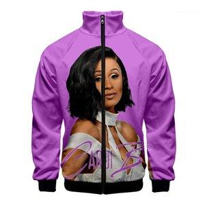 Печать Личность Zipper Sweaahirts женщин людей Unisex Stand Collar способа Cacual Длинные рукава одежды Cardi B 3D
