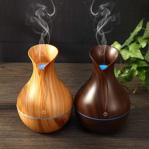 Vase de fleurs Texture en bois chaud Humidificateur réservoir d'eau anti-bactérien Aroma diffuseur Hydrater notre peau 7 couleurs changement LED
