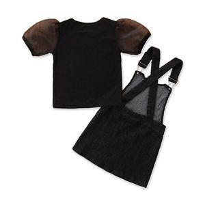 Small Girl's Set T-shirt+suspend Skirt Short Sleeve Summer Kids 2pcs Set Fashion Denim Children Suits