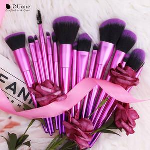 DUcare Makyaj Seti 15pcs Premium makyaj fırçası Vakfı harmanlayan Allık Yüz Göz Farı Kaş Eyeliner Kapatıcı Dudak Fırçası Kozmetik Fırçalar