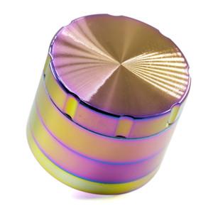 Yeni Stil Çapı 50mm 4 Parça Iceblue Renk Gökkuşağı Çinko Alaşım Öğütücü Pah Üst Kapak Diş Baharat Tütün Kırıcı Herb öğütücü