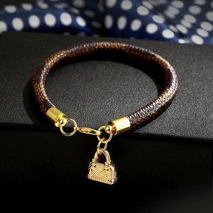 2020 new fashion hipster stripe bracelet big brand V letter high quality bag shape pendant plating true gold bracelet jewelry