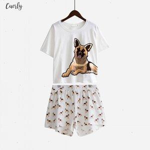 Women Pajama Sets German Shepherd Dog Round Neck Print 2 Pieces Set Shorts Elastic Waist Loose Home Wear Pyjamas S73901