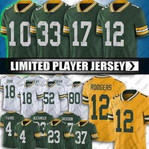Yeşil 12 Aaron Rodgers Bay Jersey 17 Davante Adams Formalar Packer 33 Aaron Jones Jersey 26 Darnell Savage Bart Starr Jaire Alexander