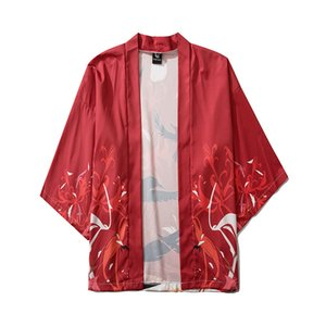 Männer Kimono Tops Designer chinesische Art-Vogel-Druck-lose dünnes Hemd Frühlings-O Ansatz Männer Kleidung