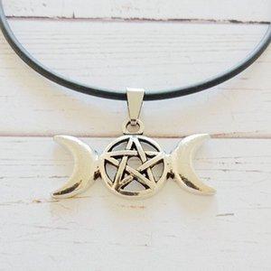 Triple Moon Göttin Wicca Pentagram Magie Amulett Halskette Anhänger Choker Collares Gothic Leder Halsketten Für Frauen Schmuck Halloween Geschenke