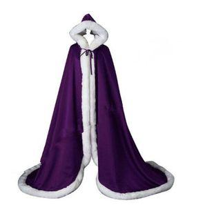 Beatiful Bridal Cape Bianco Lungo Matrimonio Mantella Faux Fur Con Raso CALDO Caldo Per Inverno Matrimonio Nuziale Convolini Bolero Con Cappuccio