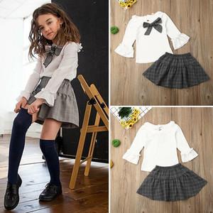 Boutique Vêtements fille bébé Flare manches longues Tops + Jupe à carreaux vêtements en coton d'été 2PCS
