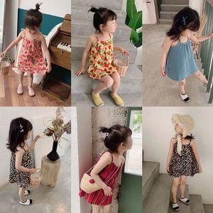 Bebek Kız Çiçek Leopar Sling Elbise Çocuk Askı Pamuk Prenses Elbiseler Moda Yaz Butik Çocuk Giyim 5 Renkler M1454