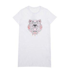 Lüks Kadın Tasarımcı Tiger Elbise Tees Moda Kadın Yaz Yüksek Kaliteli Günlük Elbiseler Kadın Yeni Geliş Elbise Beyaz Baskı