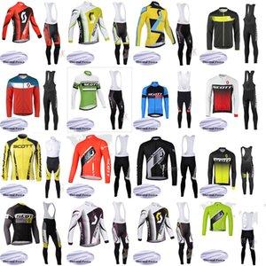 로파 Ciclismo B619-17 스포츠 SCOTT 팀 사이클링 저지 겨울 남성 겨울 열 양털 턱받이 바지 정장 MTB 자전거