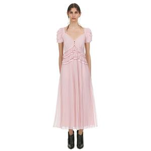 Yeni Moda Puf Kollu V Yaka Şifon Uzun Elbise 2019 Yaz Kadın Seksi Plaj Fold Pembe Bölünmüş Pileli Parti Elbiseler