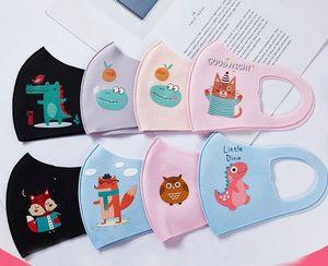 200pcs 4-12year PM2.5 Crianças Boca máscara dos desenhos animados 3D Dinosaur Cara bonito Máscara fina Respiração orelha máscara loop Anti Poeira Ciclismo lavável