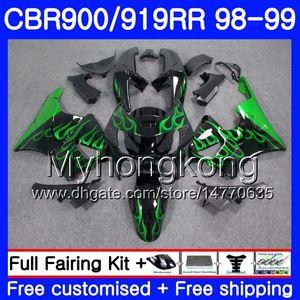 Corpo Para HONDA CBR 900RR CBR 919RR CBR900 RR CBR919RR 98 99 278 HM.0 CBR900RR CBR 919 RR CBR919 RR 1998 1999 Kit de carenagens Green flames black