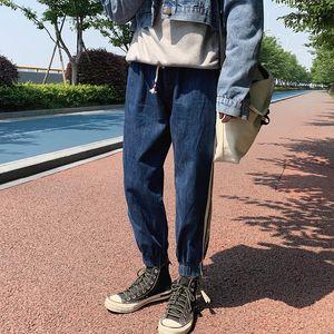2019 Outono Versão Coreana Do Casal Neutro Calça Casuais Shop Shop Original Feixe de Pé ferramental Jeans Hip Hop Streetwear